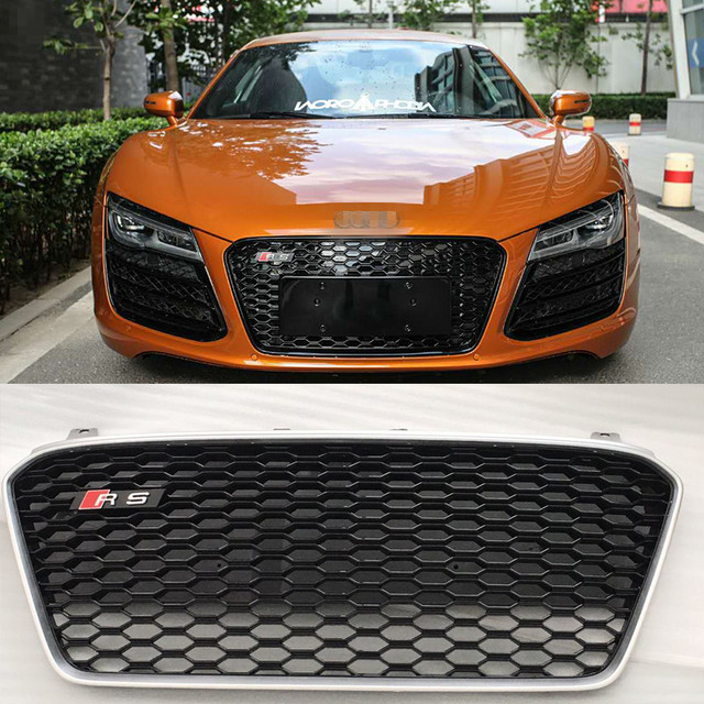 US $554 99 26% OFF|R8 RS Style ABS Matt Silver Frame Car Front Bumper  Honeycomb Mesh Grill Grille for Audi R8 2013 2016-in Racing Grills from