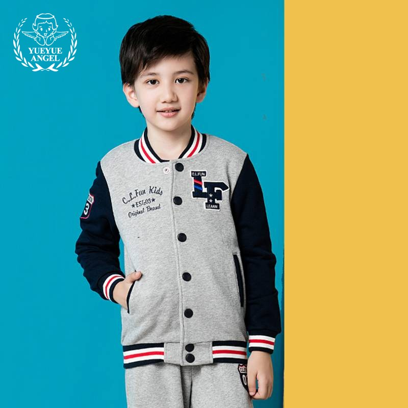 2018 Spring Sports Boys Suit Baseball Uniform Style Single Breasted Long Sleeve Coat+Full Length Striped Pants 2Pcs boy Suits