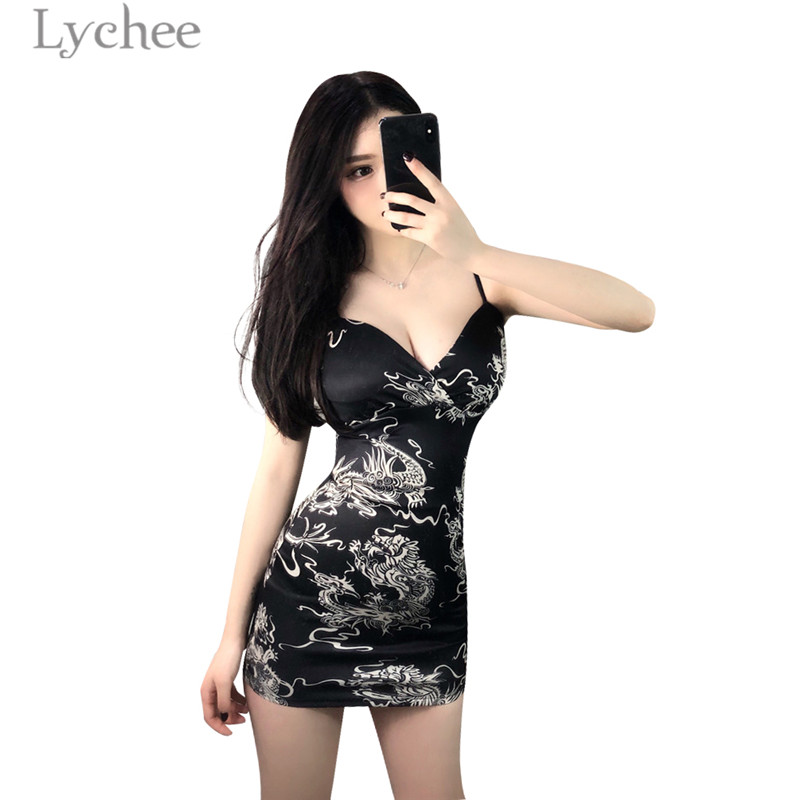 80c15068b4bad Lychee Sexy Dragon Print Strap Dress High Waist Sleeveless V neck Bodycon  Dresses Skinny Female Dress -in Dresses from Women's Clothing & Accessories  ...