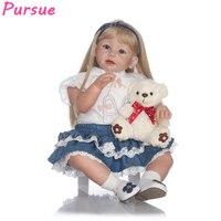 Преследовать 28 /70 см ручной работы популярные большой Reborn Одежда для малышей куклы силиконовые золото волос платье куклы Up Girl игрушки куклы