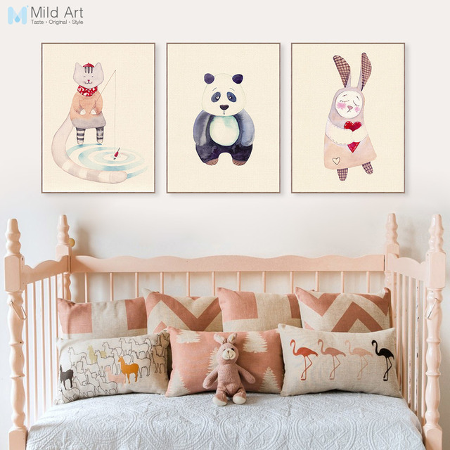 Superieur Vintage Retro Kawaii Animal Panda Rabbit Poster Nordic Kids Baby Room Wall  Art Print Picture Home
