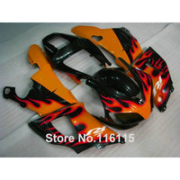 Full injection ABS motorcycle parts for YAMAHA 98 99 R1 fairing kit YZF R1 1998 1999 orange flames in black fairings 2489