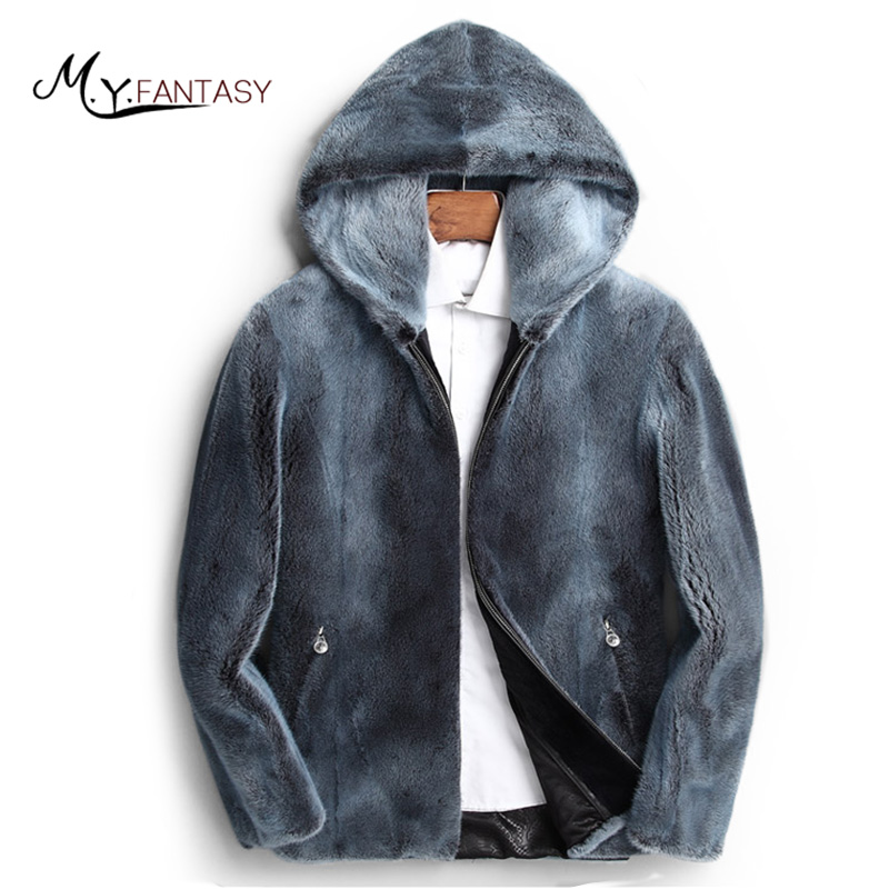 Jacket Mink-Coat Real-Fur Winter Short Man Slim Zipper with Hood Causal Colorful M.Y.FANSTY