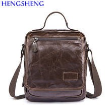 Hengsheng cheap price cow leather men shoulder bags with top quality genuine men messenger bags for men business bags