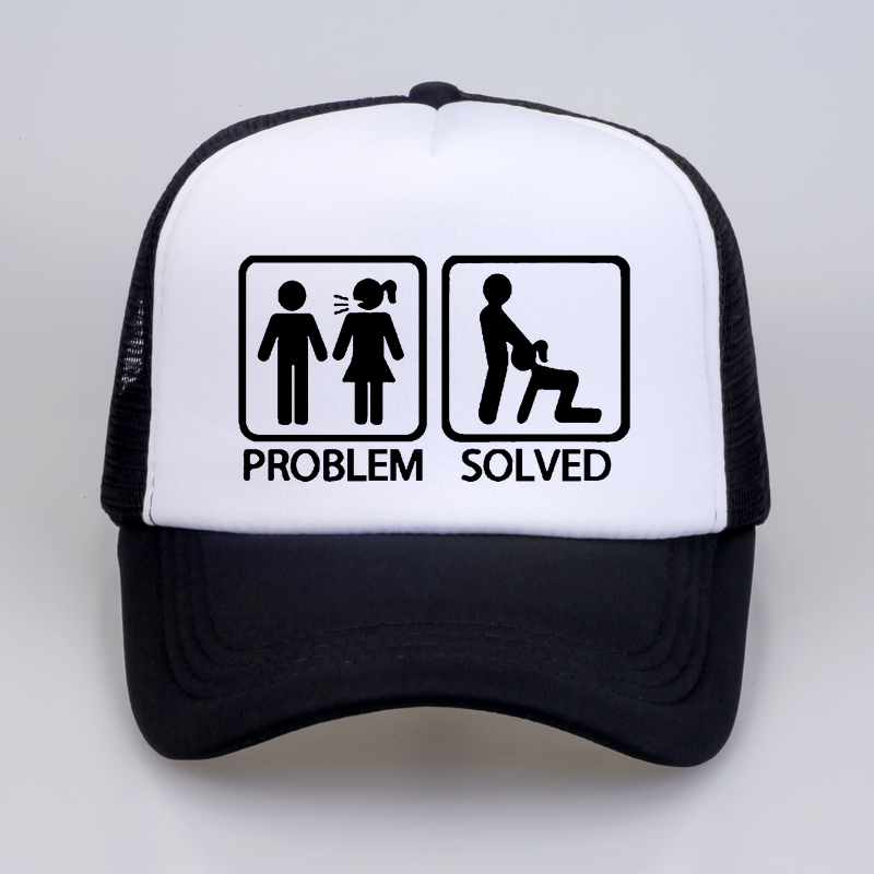 Men Women Summer PROBLEM SOLVED  Baseball Cap High Quality Print Letter Cool Summer Baseball Mesh Net Trucker Cap Dad Hat