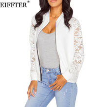EIFFTER Women Jackets New Arrival Autumn Ladies Solid Lace Stitching Baseball Jacket Stand Collar Bomber Jacket
