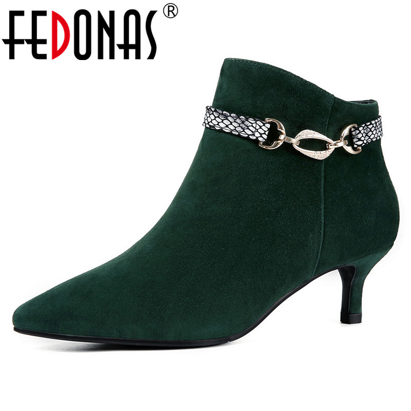FEDONAS New Suede Women Buckles Pointed Toe Sexy Ankle Boots High Heels Autumn Short Martin Shoes Woman New Office Pumps new women pumps transparent wedges high heels ankle pointed toe high heels pring autumn sexy shoes woman platform pumps