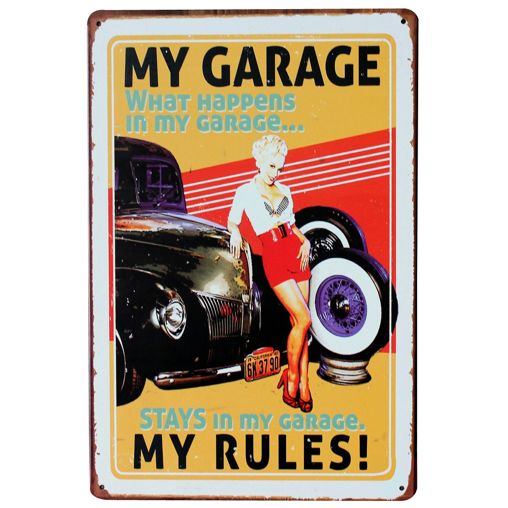 my garage my rules metal tin sign vintage decor plaque car and lady in red dress for hotel. Black Bedroom Furniture Sets. Home Design Ideas