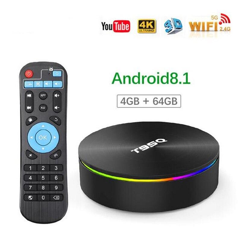 Boîtier TV T95Q Android 8.1 Amlogic S905X2 4G RAM 64G ROM boîtier TV intelligent Quad Core double Wifi BT4.1 1000M H.265 4K 4G 32G décodeur