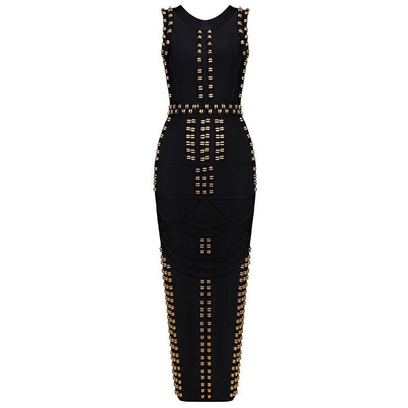 2fff2f5cf57 Leger Kim Kardashian Evening Sleeveless Celebrity Gold Studded ...