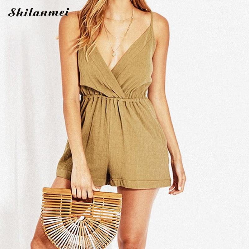 2018 Summer Women V-Neck Rompers Sexy Club Solid Elegant Bodycon Jumpsuit Playsuit Romper Backless Combinaison Short Femme