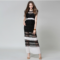 Brand Runway Women Dresses Vintage Autumn Summer High Quality See Through Luxury Party Long Dress Black