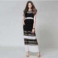 Brand Runway Women Dresses Vintage Autumn Summer High Quality See Through Luxury Party Long Dress Black