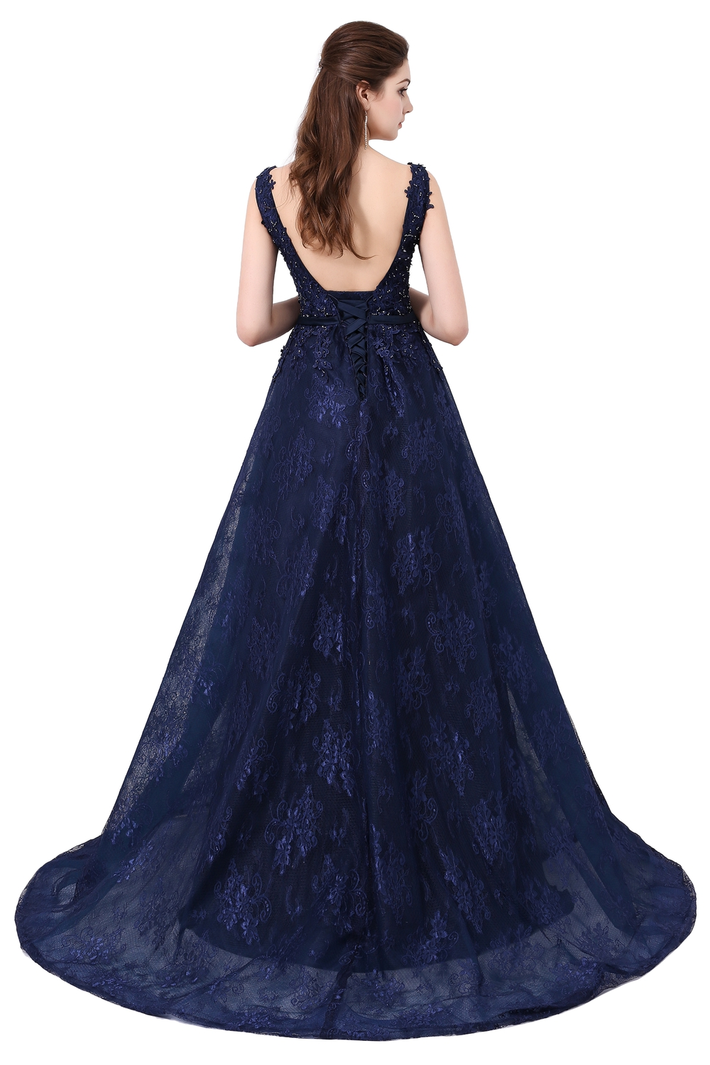 Dinner Party Dress Part - 32: Aliexpress.com : Buy SSYFashion Dinner Party Evening Dress 2017 Style The  Bride Elegant Lace V Neck Backless Sweep Train Long Prom Dresses Custom  From ...