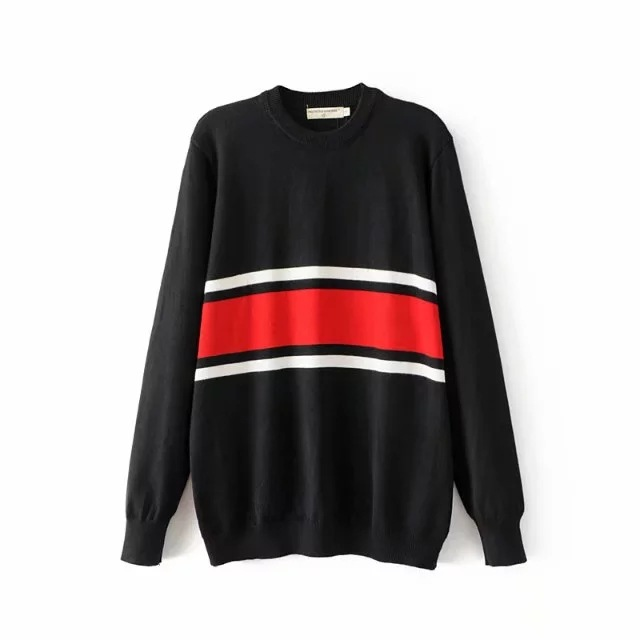 HTB1kX6tSpXXXXaqapXXq6xXFXXXS - Striped Splicing wild loose sweater Womens soft pullovers PTC 73