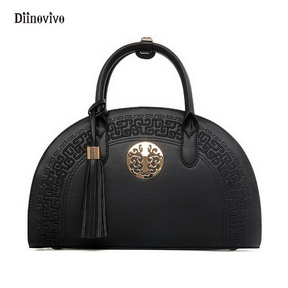 DIINOVIVO Simple Brand PU Leather Shoulder Bags Punk Style Tassel Messenger Bags Large Capacity Casual Women Handbag WHDV0110