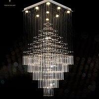 Светодиодный Кристалл люстры квадратный подвесной светильник светильники AC 100 до 240 В прозрачный K9 кристалл