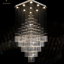 LED Crystal Chandeliers Square Pendant Light Lighting Lamps Fixtures AC 100 to 240V Clear K9 Crystal led crystal pendant light contemporary hanging lamps fixtures with l80cm w80cm h110cm ac 100 240v kingdom lighting