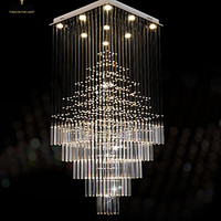LED Crystal Chandeliers Square Pendant Light Lighting Lamps Fixtures AC 100 to 240V Clear K9 Crystal