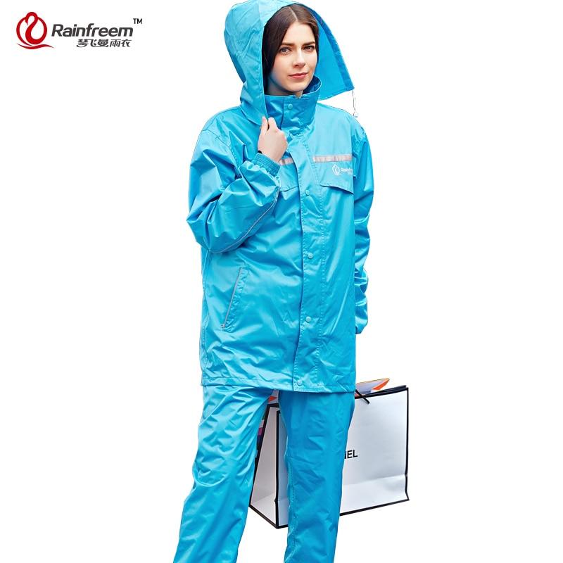 Rainfreem capa de Chuva Impermeável Mulheres / Homens Capuz Poncho de Chuva À Prova D 'Água capa de Chuva Calças Terno Rainwear Homens Motocicleta capa de Chuva