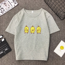 Multi-color Women T-shirt Yellow Duck Print O-neck Short Sleeve Slim Fitted  Street Wear Funny T-shirt Women Summer Korean Tee v cut textured slim fitted tee