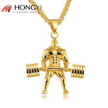 Здесь можно купить  HONGYE Strong Man Stainless Steel Pendant Necklace Personalized Sport Dumbbell Weight Lifting Charm Gym For Men Necklace Jewelry