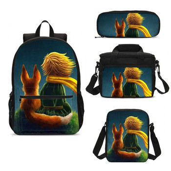4Pcs/Set Portfolio School Bags Girls Boys Anime Cartoon The Little Prince 3D Printing Backpacks Teenager Bookbag Mochila Escolar