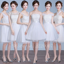 Six Kinds of Neckline Bridesmaid Dress Knee Length Lovely Prom Gown Appliques Wedding Party Dress Graceful Bridesmaid Dresses