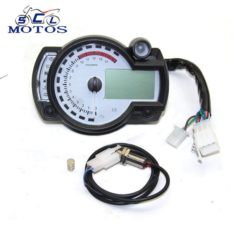 Sclmotos for Koso Motorcycle Digital Light LCD Digital Gauge Speedometer Tachometer Odometer Adjustable MAX 299KM H