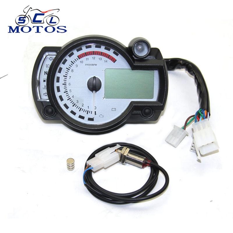 Sclmotos-pour Koso Moto Numérique Lumière LCD Numérique Jauge Compteur De Vitesse Compte-Tours Kilométrage Réglable MAX 299 KM/H Compteur