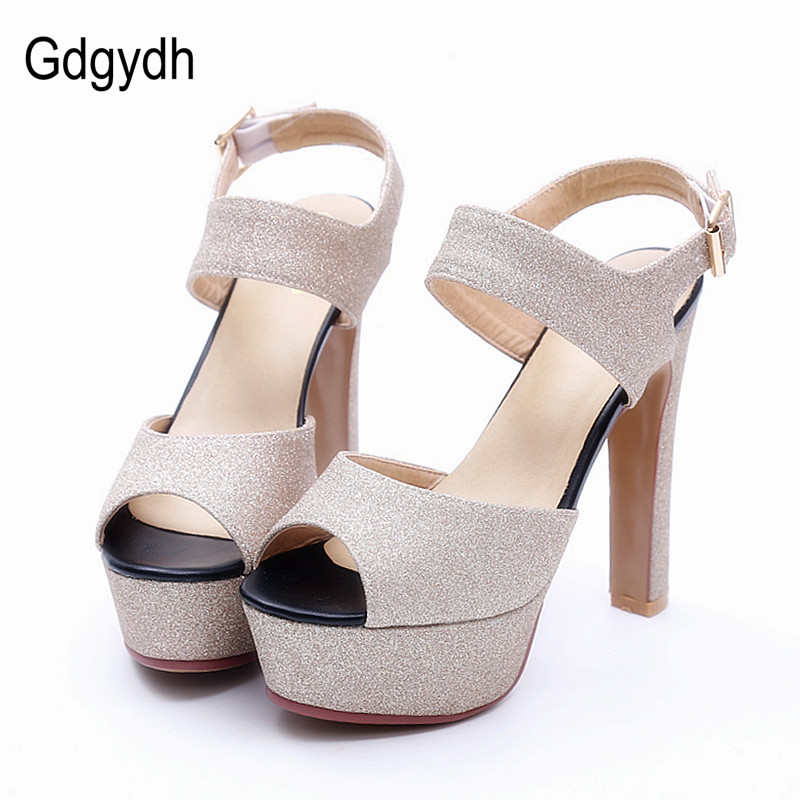 Gdgydh 2017 New Thick Heels Women Sandals Platform Fashion Ankle Strap Open Toe Summer Shoes Woman Big Size 43 Gold Sliver new arrival summer shoes wrap open toe fashion women ankle strap sandals thick heel platform women sandals size 34 43 pa00776