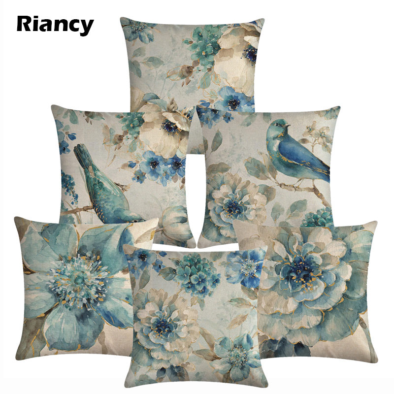 Cotton Linen Birds And Flowers Sofa Decorative Cushion Cover Pillow Pillowcase 45*45 Throw Pillow Home Decor Pillowcover 40622