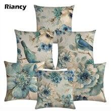 Funda de cojín decorativa para sofá de algodón de lino con pájaros y flores 45x45, funda de almohada decorativa para decoración del hogar, funda de almohada 40622