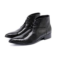 Plus Size 47 genuine Leather Men Ankle Boots High Heel Men Cowboy Shoes lace up python skin punk boots winter autumn high top plus size italian style man high heels pointed toe rocker punk shoes genuine leather men s cowboy motorcycle ankle boots sl325