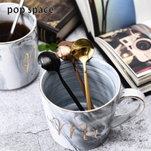 pop space 2 Pcs/Set Colorful Stainless Steel Coffee Scoop Kitchen Coffee Spoon With Long Handle Ice Cream Dessert Tea Spoon Set(China)