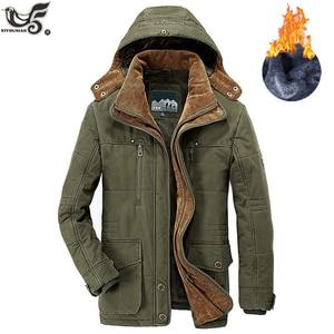 Image 5 - Giacca invernale da uomo di marca taglia 5XL 6XL giacca a vento spessa calda in pile di alta qualità parka imbottito in cotone abbigliamento soprabito militare