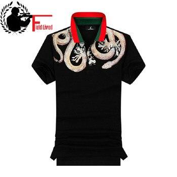 0be44872191 Polo para hombre verano 100% algodón estampado POLO camisas marcas  diseñador manga corta Tops estilo cuello hombre camisa blanca Poloshirt