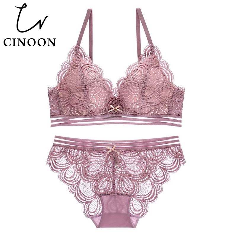 CINOON Sexy Underwear Push up Lingerie Wireless   Bra     set   2018 hot sale brassiere and panties Floral cotton   briefs     sets
