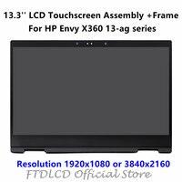 FTDLCD 13.3'' FHD 4K LCD Touchscreen Display Aseembly+Frame For HP Envy x360 13 ag series 13 ag0502na 13 ag0900ng 13 ag0002nf