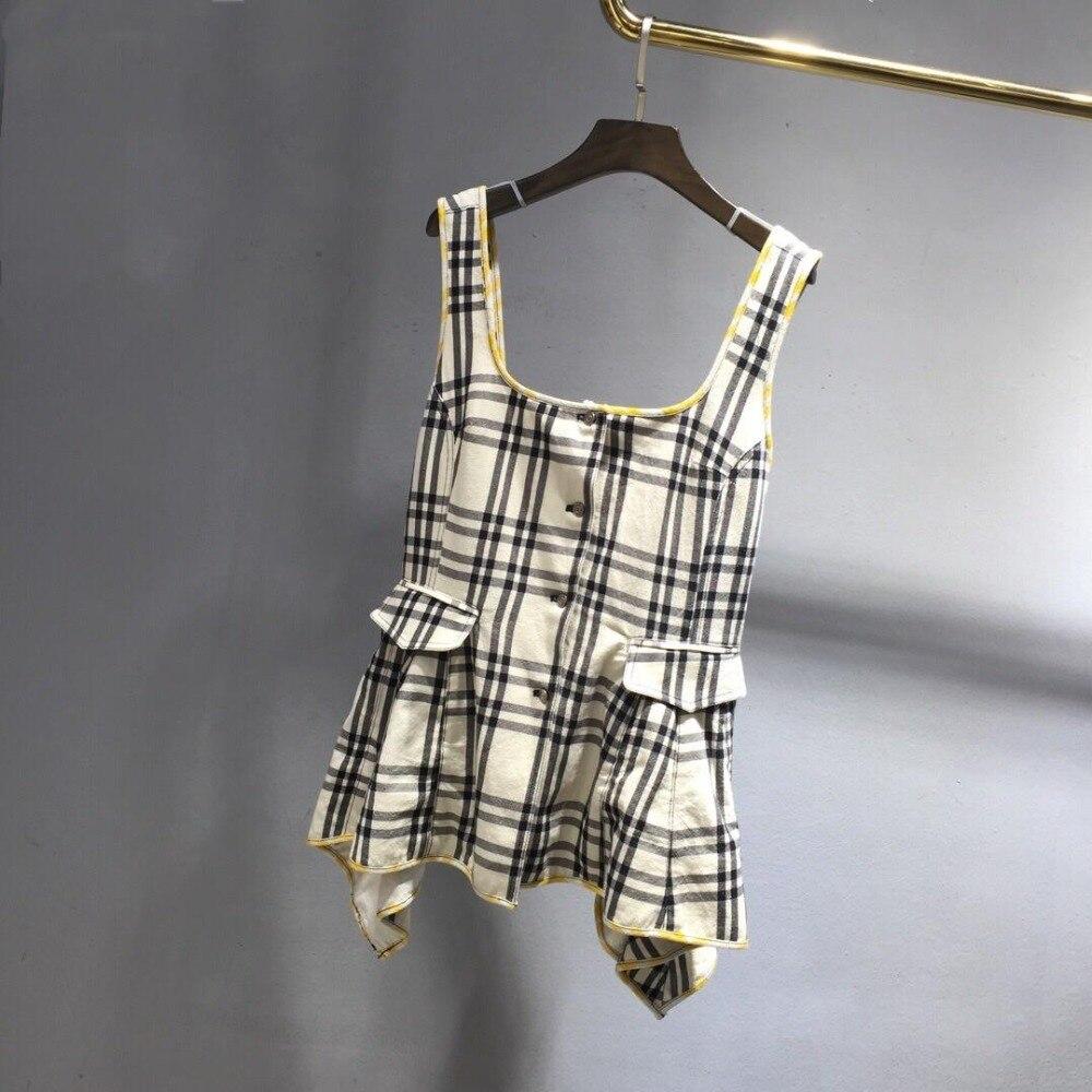 2019 nouveau dames mode sexy sans manches plaid taille gilet top 0507