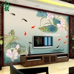 Maatwerk Chinese Lotus stijl Lotus muurschilderingen Lotus TV achtergrond Muur papier eenvoudige Moderne Film Muur behang