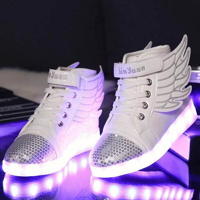 4a2a54279fb268 Size 25-35 Winter Christmas Kids Luminous Sneakers Led Light Shoes Baby  Girl Boy Sneakers High Top Tenis Led Slippers Trainers