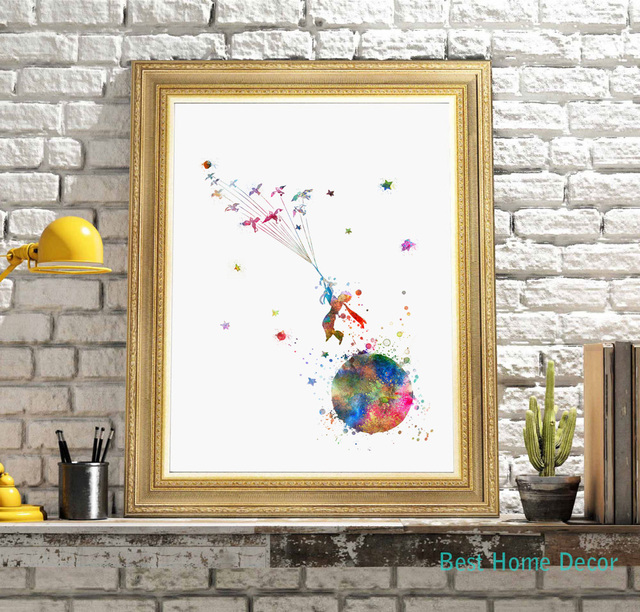 The Little Prince Colorful Inspired Quote Le Pe Watercolor Art Print Giclee Wall Decor