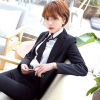 New 2018 Spring Autumn Fashion Women S Business Pants Suits Houndstooth Checker Pattern Ruffles Suits For