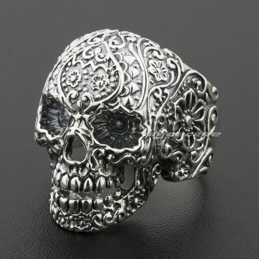 LINSION Solid 925 Sterling Silver Skull Ring Mens Biker Rock Punk Style 8V001 US Size 7 to 15|skull ring men|ring men bikersilver skull ring - AliExpress