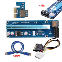 60CM PCI E Express 1X To16X Extender Riser Card Adapter 4Pin SATA Power Cable EM88