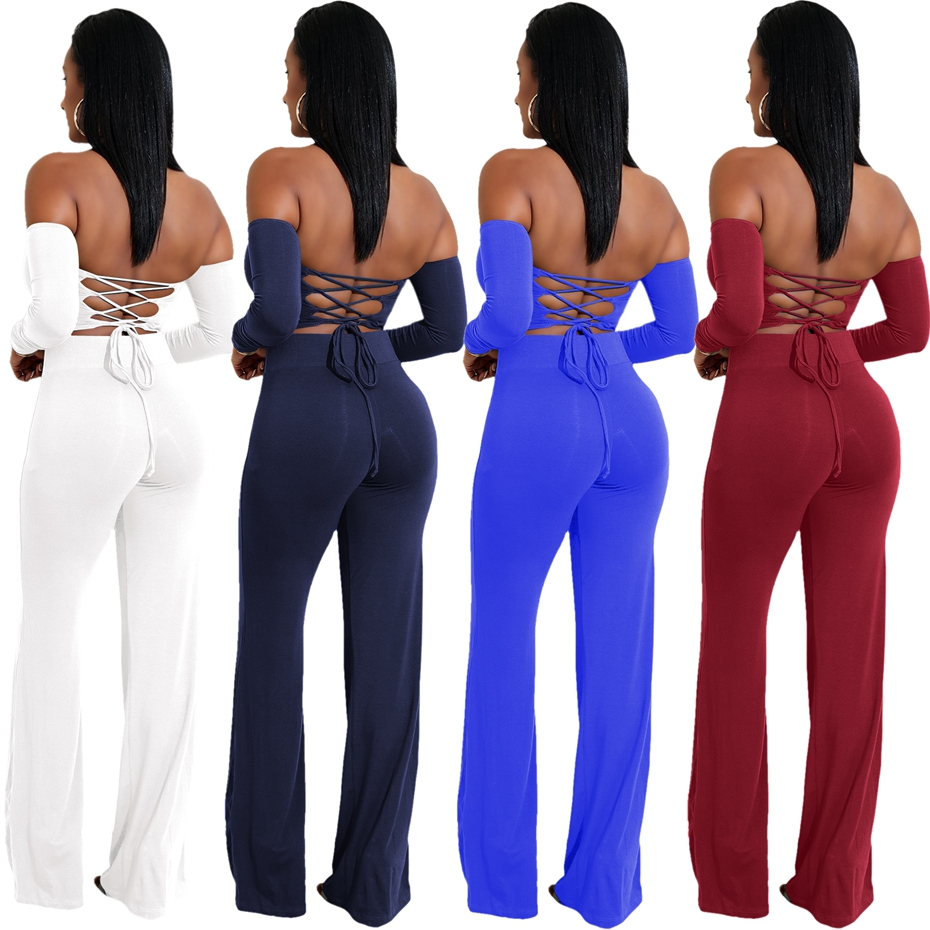 475af899ab7b HAOYUAN Two Piece Sexy Jumpsuits Off Shoulder Long Sleeve Full Bodysuit  Autumn Overalls Backless Bandage Rompers Womens Jumpsuit-in Jumpsuits from  Women's ...