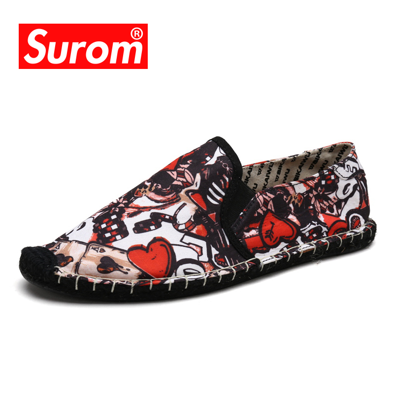 SUROM Summer Brand Men Espadrilles For Men's Casual Flats Shoes Canvas Sneakers Slip on Fisherman Shoes Ramie Hemp Sole Loafers ручка гелевая zebra j roller rx jjbz1 bl 0 7мм синий