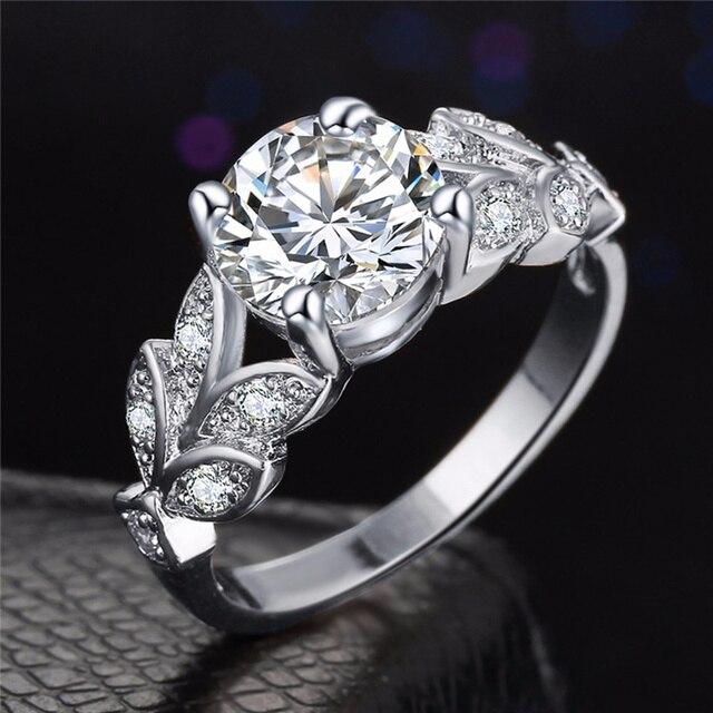 SI ME De Mariage Cristal Couleur Argent Anneaux Feuille de Fiançailles Or couleur Zircon Cubique Anneau De Mode Nouvelle Marque Bijoux Pour Femmes bijoux 5