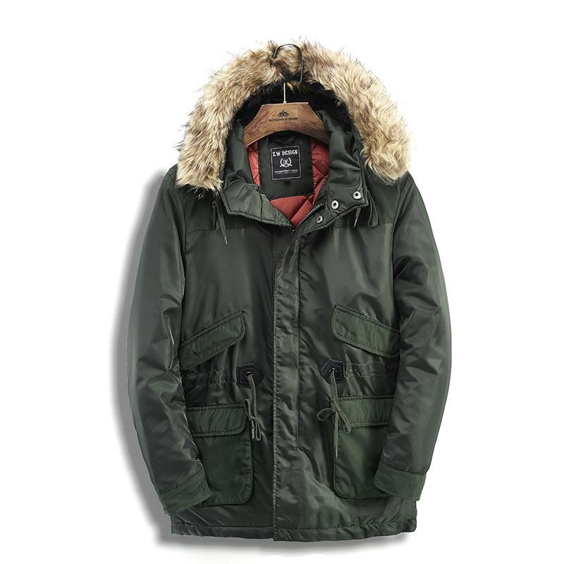 2018 new Winter Men's Long Coat cotton Men's Hooded With Large Fur collar Coat Black Warm Cotton jacket More Size S XXL